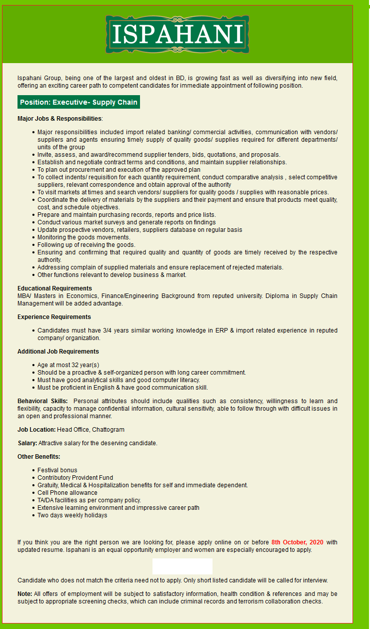Ispahani Foods Limited Job Circular 2020